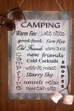 New CAMP LIFE  Marshmallows Camping Sign Friends Food Fire Weathered Primitive Style