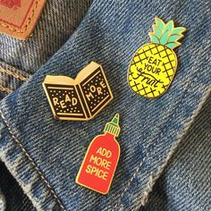 A little collection of pins, titled Life lessons learned from things I like. Gold plated hard enamel pin with butterfly clasp. -------------- Shipping