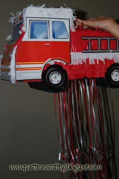 I Can Dabble: How to: Pull String fire truck Piñata