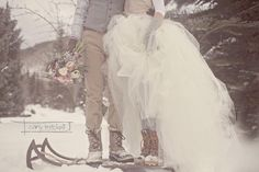 Carly Mitchell Photography. What a great idea for a wedding photo session! #winterwedding