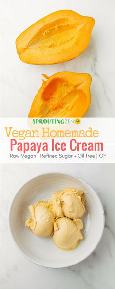 Four Ingredient Easy Homemade Vegan Papaya Ice Cream (Oil free, Gluten free, Refined sugar free) #icecream #vegan #plantbased #veganrecipes #plantbasedrecipes via @sproutingzeneats