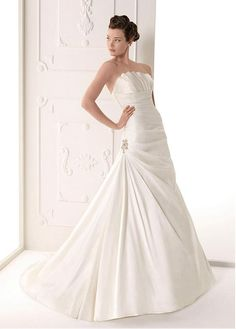 GORGEOUS SATIN A-LINE STRAPLESS NECKLINE WEDDING DRESS WITH BEADINGS LACE BRIDESMAID PARTY COCKTAIL GOWN FORMAL