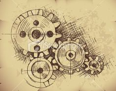 Old fashioned gears illustration