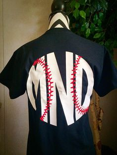 Baseball monogram t shirt with stitches