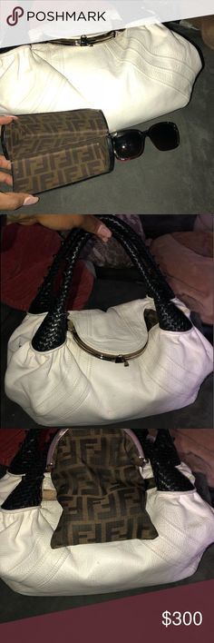 Fendi spy bag and matching sunglasses Can be a package deal or sold separately fendi spy bag white and black and brown fendi glasses. Both authentic. Bag doesn't come with duster but serial number is shown in pictures, bags come with original Fendi box Fendi Bags Hobos