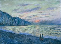 Artistic Mugs with Famous Paintings Sunset at Pourville (Detail) - Claude Monet , 1882 French Oil on canvas, 23 x 32 inches. Claude Monet, Monet Paintings, Landscape Paintings, French Paintings, Artist Monet, Impressionist Artists, Impressionism Art, Renoir, Lovers Art