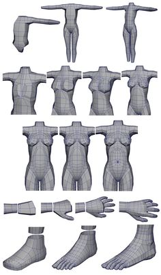 Topology can be hard to wrap your head around and master. Here are some examples of things I reference. Remember that there is no template that works for every character, and your topology should. Blender 3d, Blender Models, Wireframe, Maya Modeling, Modeling Tips, Zbrush Tutorial, 3d Tutorial, 3d Model Character, Character Modeling