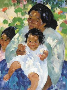 """Mother and Children,"" Martha Walter, oil on canvas, 32 x 24"", private collection."