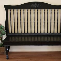 Turn your child's old crib into a decorative bench!