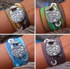 Hand geverfd zijden linten EXTRA Wrap armband door HappyGoLicky