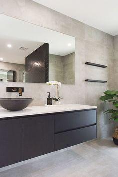 Black Vanity Bathroom, Modern Bathroom Tile, Concrete Bathroom, Concrete Tiles, Small Bathroom, Master Bathrooms, Bathroom Mirrors, Bathroom Cabinets, Modern Bathrooms