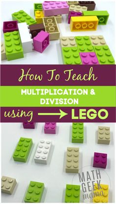 Make multiplication and division fun and hands on with LEGO bricks! In this post, learn all the different ways to model multiplication with LEGO and how to help kids make sense of division in a meaningful way. Multiplication Activities, Lego Activities, Multiplication And Division, Math Fractions, Numeracy, Division Activities, Math Games, Maths Puzzles, Teaching Division