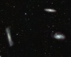 The Leo Triplet Galaxies from VST This popular group is famous as the Leo Triplet - a gathering of three magnificent galaxies in one field of view. Crowd pleasers when imaged with even modest telescopes, these galaxies can be introduced individually as NGC 3628 (left), M66 (bottom right), and M65 (top right). All three are large spiral galaxies.
