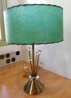 Sputnik Vintage Mid Century Century Mod Starburst Lamp w Turquoise Laced Shade