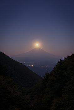 Harvest Moon Over Mt. Fuji, Shizuoka, Japan.