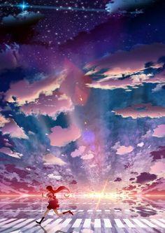 grafika anime, anime girl, and sunset