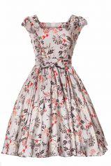 Silver Floral Swing Dress : Lady Vintage
