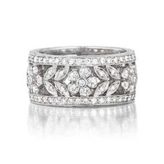 Penny Preville Floral Pave Diamond & White Gold Women's Wedding Band R6022W