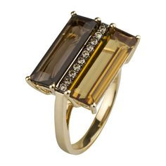 14K yellow gold ring with quartz and champagne diamonds