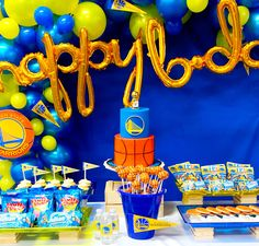 I made this cake for this cute Warriors theme party Golden State Warriors, Cake Art, Party Themes, Birthday Cake, Cute, Desserts, Tailgate Desserts, Deserts, Art Cakes