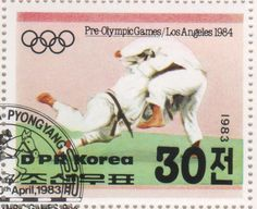"""A """"judo"""" stamp from North Korea."""