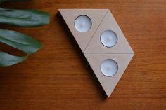 Triangular Plywood Tea Light Holders Set of Three by MAGICxWINDOW