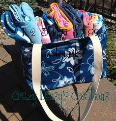 Oversized Beach tote- It fits 9 towels plus room for beach necessities.  I added pockets and key holder for extra features. Also lined with a complimenting stripe print