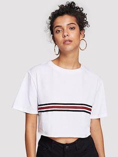 8e86f4c6d52e8 Striped Tape Detail Crop Tee Summer Tops, Casual T Shirts, Cool T Shirts,