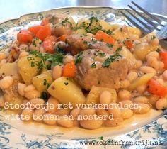 Stoofpotje met varkensvlees, mosterd en witte bonen