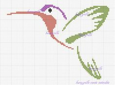 free-karagrille-colibri Cross Stitch Bird, Cross Stitch Animals, Cross Stitch Flowers, Cross Stitch Charts, Cross Stitch Embroidery, Pony Bead Patterns, Modern Cross Stitch Patterns, Creative Embroidery, Hand Embroidery Designs