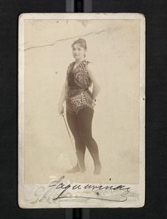 """Ella Hatton (1854-  ) known as """"La Jaguarina,"""" """"Champion Amazon of the Age"""" fought men in various types of sword play contests. Her most memorable battle was in San Diego in 1888 against a Captain Weidermann. The Jaguarina-Weidermann Battle was a broadsword contest on horseback, which she won.  She won 134 out of 135 bouts.  In 2009 she was inducted into the U.S. Fencing Association's Hall of Fame."""