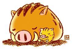 イラスト『 いのしし親子 』 Kawaii Pig, Pig Illustration, Year Of The Pig, Poster Prints, Art Prints, Japanese Culture, Drawing For Kids, Animal Paintings, Kittens Cutest