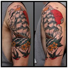 Ship Navy Tattoos, Sailor Tattoos, Tattoos For Guys, Cover Up Tattoos, Body Art Tattoos, Tattoo Barco, Arm Tattoo, Sleeve Tattoos, Traditional Ship Tattoo
