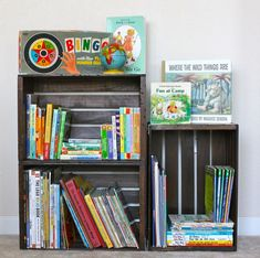 Crate Bookshelf Make a simple bookshelf out of unfinished wooden crates. Add more crates as your book collection grows. Simple Bookshelf, Crate Bookshelf, Bookshelf Ideas, Bookshelf Plans, Bookshelf Storage, Bookshelf Headboard, Kids Room Bookshelves, Creative Bookshelves, Record Storage