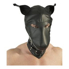 Dog-shaped hood made of black fake leather with zipper crossing the muzzle. Collar with studs and ring. Round Sunglasses, Mens Sunglasses, Dog Mask, Puppy Play, Pet Store, Bradley Mountain, Pets, Riding Helmets, Studs