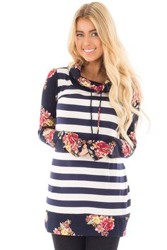 6e2613de2f Lime Lush Boutique - Navy Striped Top with Floral Print Sleeves and Cowl  Neck