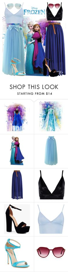 """""""Elsa & Anna 'Frozen'"""" by keyla-de-lynch ❤ liked on Polyvore featuring Disney, Chicwish, Boohoo, Via Spiga and Victoria Beckham"""