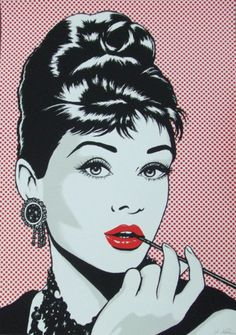 Antonio de Felipe - Audrey Hepburn and red lipstick pop art Arte Audrey Hepburn, Roy Lichtenstein Pop Art, Arte Dope, Pop Art Illustration, Retro Pop, Vintage Comics, Andy Warhol, Graphic, Les Oeuvres
