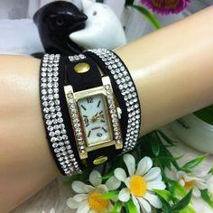 Casual Women Long Strap Crystal Bracelet Quartz Watch at Banggood