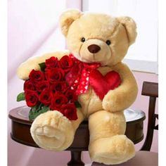 Teddy bear and roses, theres something about the two of th together can win a womam :-) heart! Big Teddy Bear, Teddy Bear Toys, Cute Girl Wallpaper, Bear Wallpaper, Teddy Bear Pictures, Native American Warrior, Gift Bouquet, Valentine Day Wreaths, Valentines