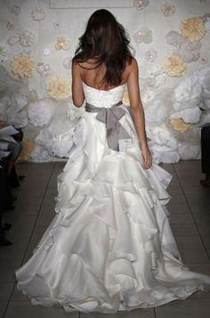 Jim Hjelm  ivory  silk satin organza ball gown platinum sash wedding dress front wide (Jan <3)