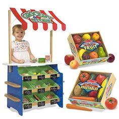Melissa & Doug Grocery Store and Lemonade Stand with Playtime Fruits and Playtime Veggies Bundle - Christmas Gift Ideas for Toddlers
