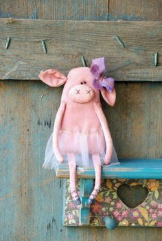 Your place to buy and sell all things handmade - Primitive Pig-Primitive Rag Doll-Spring by RusticCraftsbySue - This Little Piggy, Little Pigs, Pig Crafts, Sewing Toys, Felt Animals, Crochet Animals, Diy Doll, Fabric Dolls, Stuffed Toys Patterns