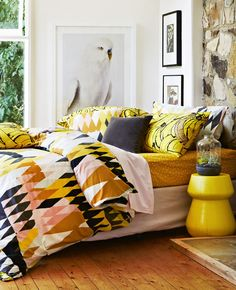Bedlinen by Kip & Co. Photo - Armelle Habib. Styling by Julia Green and Amber Lenette. via the designfiles