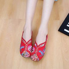 25673cfb18d Phoenix Embroidered Old peking Vintage Flat Shoes. Le VoirLoafer ...