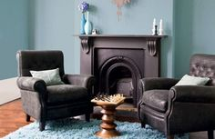 Lounge - duck egg blue with charcoal grey?
