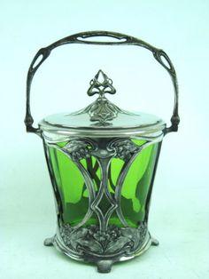 WMF-Jugendstil-Biscuitdose--1900-art-nouveau-Orivit 23cm (1000)