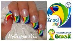 FIFA WORLD CUP NAIL ART SUMMER 2014 BRAZIL.Os traigo un video sobre como os podeis pintar las uñas de el nuevo mundial 2014 en brazil