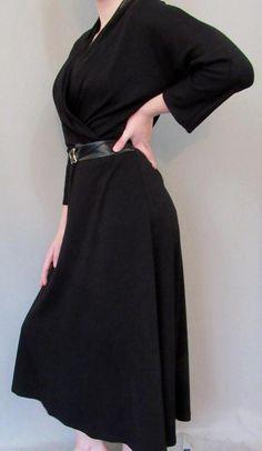 Talbots Dress Size 8 Cross Over V Neck Career Long Sleeve Black Stretch Winter #Talbots #TeaDress #WeartoWork