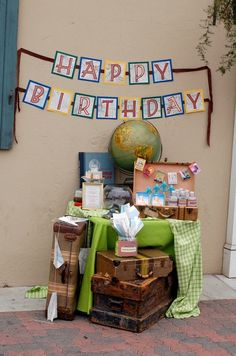 """""""Oh, the places you'll go"""" travel-themed birthday party. cute use of old suitcases to hold drinks and favors. Retirement Parties, Grad Parties, 60th Birthday, 1st Birthday Parties, Birthday Ideas, Vintage Travel Themes, Travel Party, Travel Cake, Travel Box"""